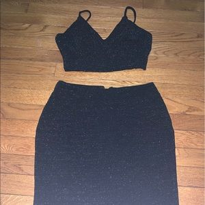 sparkly black two-piece